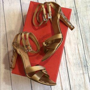 Valentino Satin Bow Ankle Strap Rhinestone Heels